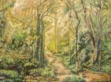 Manjula Dubey | Oil Painting title A Tropical Forest on Canvas | Artist Manjula Dubey Gallery | ArtZolo.com