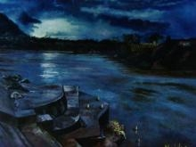 Landscape Oil Art Painting title Ganga At Dusk by artist Manjula Dubey