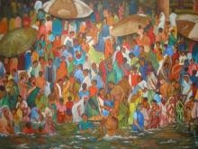 Landscape Acrylic Art Painting title Ganga Bathing Ghats by artist Manjula Dubey