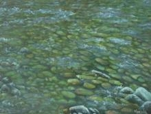 Manjula Dubey | Acrylic Painting title Ganga Clear Waters on Canvas | Artist Manjula Dubey Gallery | ArtZolo.com