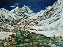 Landscape Acrylic Art Painting title 'Ganga Mountain River' by artist Manjula Dubey