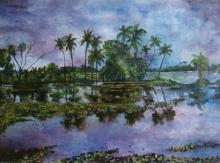 Landscape Acrylic Art Painting title 'Monsoon Glory' by artist Manjula Dubey