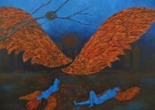 Abstract Acrylic Art Painting title 'Nirbhaya' by artist Manjula Dubey