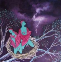 Figurative Acrylic Art Painting title 'Angel Nest' by artist Manjula Dubey