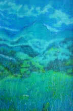 Landscape Oil-pastel Art Painting title 'Valley Of Silence' by artist Manjula Dubey