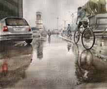 Manish Sharma | Watercolor Painting title Ghari Chowk 60 on artwork | Artist Manish Sharma Gallery | ArtZolo.com