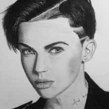 Portrait Charcoal Art Drawing title 'Ruby Rose' by artist Joanne Morais