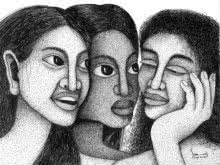 Figurative Pen Art Drawing title '3 Women' by artist Sanooj KJ