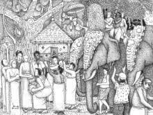 Pooram | Drawing by artist Sanooj KJ |  | pen | Paper