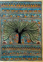 Traditional Indian art title A Tree Of Life on Handmade Paper - Madhubani Paintings