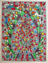 Traditional Indian art title Alpana on Handmade Paper - Madhubani Paintings