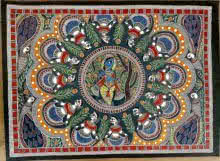 Traditional Indian art title Brindavan Raas Of Krishna on Handmade Paper - Madhubani Paintings