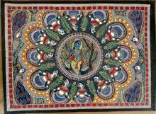 Artisan | Madhubani Traditional art title Brindavan Raas Of Krishna on Handmade Paper | Artist Artisan Gallery | ArtZolo.com
