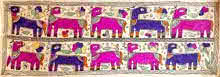 Traditional Indian art title Camel Town on Handmade Paper - Madhubani Paintings