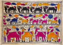 Traditional Indian art title Deer Friends on Handmade Paper - Madhubani Paintings