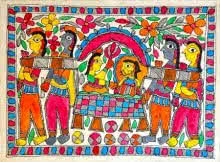 Traditional Indian art title Doli on Handmade Paper - Madhubani Paintings