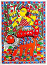 Traditional Indian art title Durga Riding A Tiger 1 on Handmade Paper - Madhubani Paintings