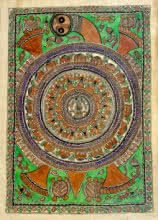 Traditional Indian art title Earth On Tortoise on Handmade Paper - Madhubani Paintings