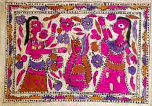 Traditional Indian art title Falling Flowers on Handmade Paper - Madhubani Paintings