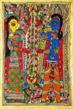 Asha Devi | Madhubani Traditional art title Garland Ceremony on Handmade Paper | Artist Asha Devi Gallery | ArtZolo.com