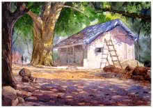 Landscape Watercolor Art Painting title 'Landscape 11' by artist Vinayak Potdar
