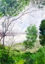 Nature Watercolor Art Painting title 'Landscape 4' by artist Vinayak Potdar