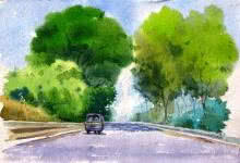 Landscape Watercolor Art Painting title Landscape 7 by artist Vinayak Potdar