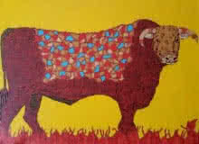 art, painting, acrylic, canvas board, animal, bull