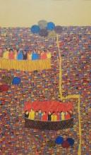 Rama Krishna V Paintings | Acrylic Painting - Cityscape 21 by artist Rama Krishna V | ArtZolo.com