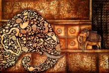 Animals Mixed-media Art Painting title 'Ancientaura2' by artist Sreya Gupta
