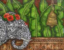 Animals Mixed-media Art Painting title 'Gaja Vandana' by artist Sreya Gupta