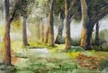 Jitendra Sule Paintings | Watercolor Painting - Morning In Wood by artist Jitendra Sule | ArtZolo.com