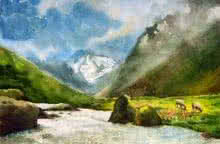 Jitendra Sule Paintings | Watercolor Painting - Vally Of Joy by artist Jitendra Sule | ArtZolo.com