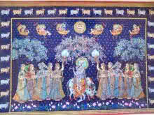 Rajendra Khanna | Tribal Painting title Sharad Purnima on Cloth | Artist Rajendra Khanna Gallery | ArtZolo.com