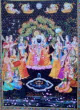 Rajendra Khanna | Other Painting title Krishna with Gopi on Cloth | Artist Rajendra Khanna Gallery | ArtZolo.com