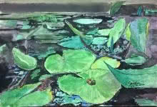 Nature Watercolor Art Painting title 'Waterlily Leaves In Watercolour' by artist Sindhulina Chandrasingh