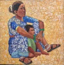 Figurative Acrylic Art Painting title 'Mother and Child' by artist Laxman Aelay