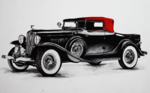 Transportation Pen-ink Art Drawing title 'VINTAGE CAR' by artist Sakshi Jain