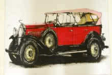 Lifestyle Mixed-media Art Painting title 'Vintage Car 1' by artist Sakshi Jain