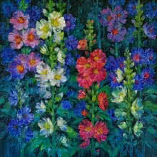 Nature Oil Art Painting title 'Hollyhocks 15' by artist Swati Kale