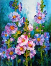 Swati Kale | Oil Painting title Hollyhocks 2 on Canvas | Artist Swati Kale Gallery | ArtZolo.com