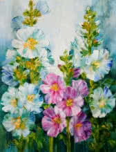 Hollyhocks 3 | Painting by artist Swati Kale | oil | Canvas