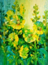 Swati Kale | Oil Painting title Hollyhocks 4 on Canvas | Artist Swati Kale Gallery | ArtZolo.com