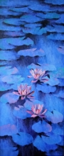 Nature Oil Art Painting title 'Waterlilies 102' by artist Swati Kale