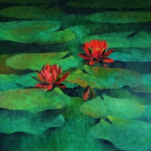 Nature Oil Art Painting title 'Waterlilies 104' by artist Swati Kale