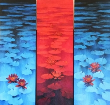 Nature Oil Art Painting title 'Waterlilies 105' by artist Swati Kale