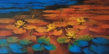 Nature Oil Art Painting title 'Waterlilies 111' by artist Swati Kale