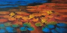 Nature Oil Art Painting title Waterlilies 111 by artist Swati Kale