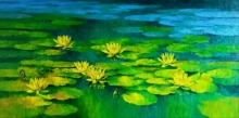 Nature Oil Art Painting title Waterlilies 112 by artist Swati Kale