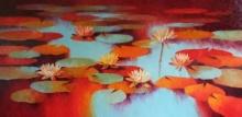 Nature Oil Art Painting title 'Waterlilies 113' by artist Swati Kale